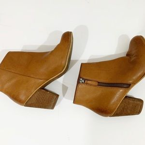 BP Tan Soft Leather Zip Up Ankle Booties